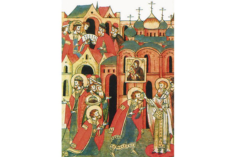 Александр получает благословение. Миниатюра из Лицевого летописного свода, середина XVI в.