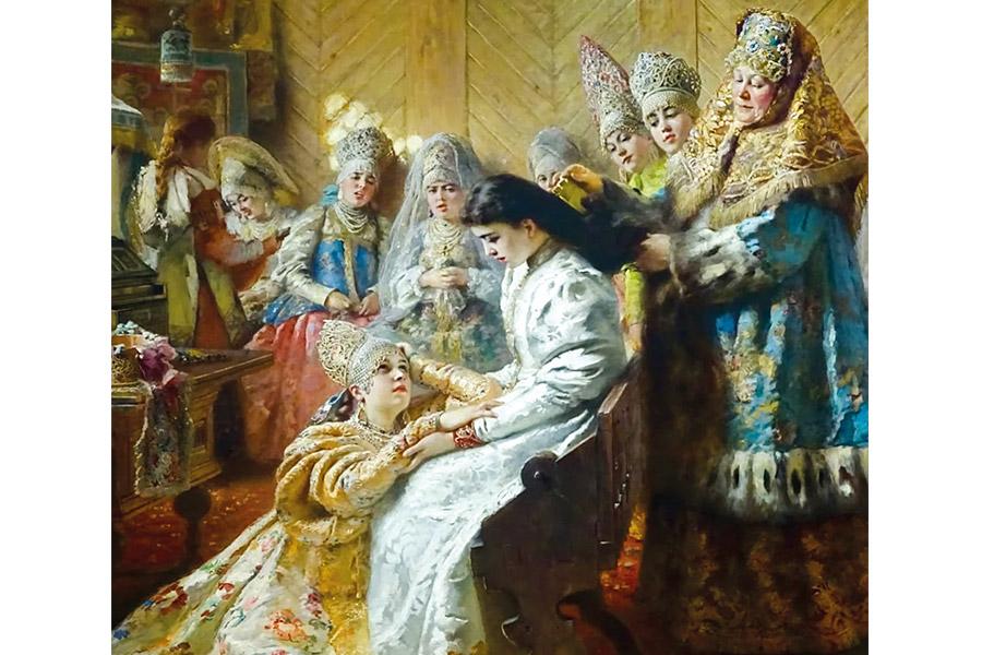 Константин Маковский. Под венец (фрагмент). 1884