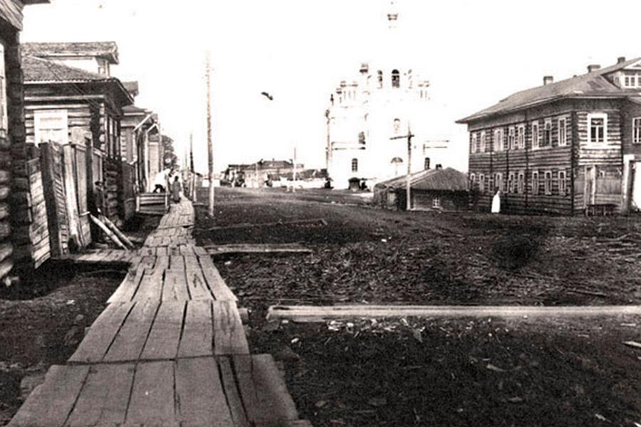 Улицы Кеми. Вдали виден Благовещенский собор. 1910-е гг.