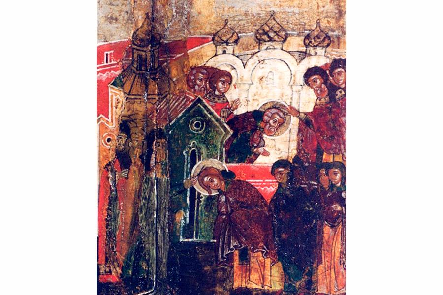 Иноческий постриг Петра и Февронии. Клеймо иконы