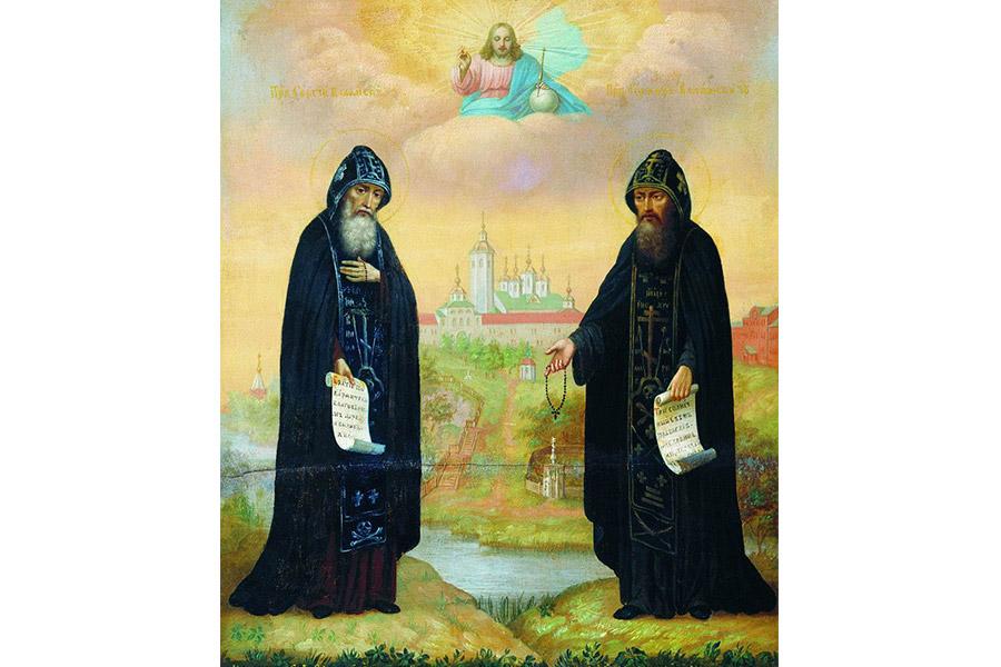 Преподобные Сергий и Герман. Икона