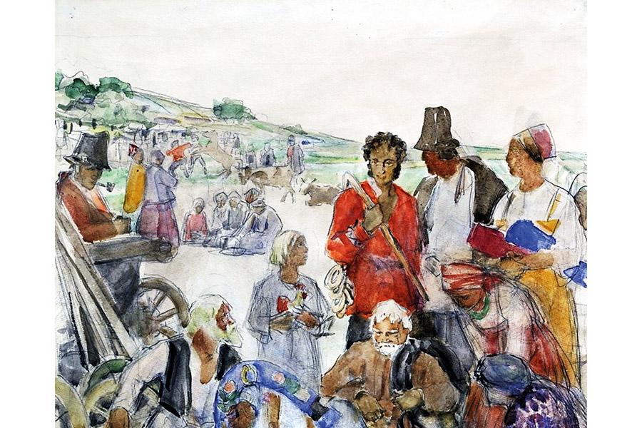 Одеваясь в простонародную одежду, Пушкин пользовался возможностью послушать рассказы о путешествиях, чудесах, духовные и исторические песни