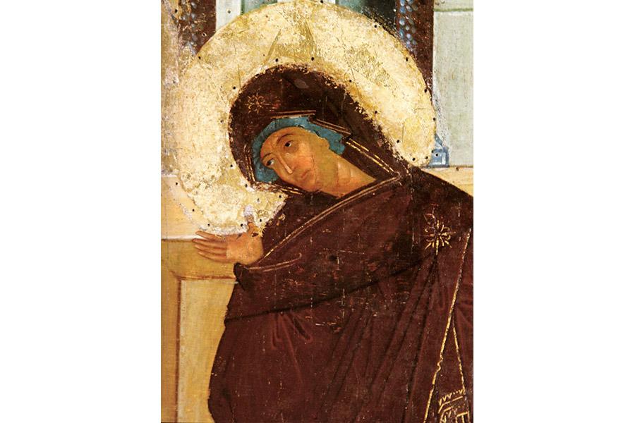 Благовещение. Фрагмент иконы из Белозерского монастыря. XV в.