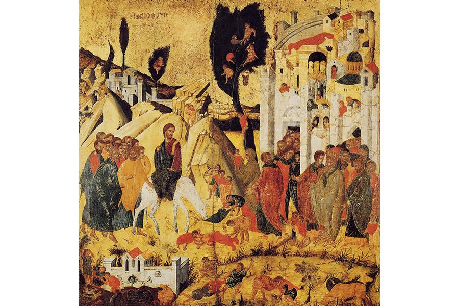 Вход Господень в Иерусалим. Икона. Византийский музей в Афинах. XV в.
