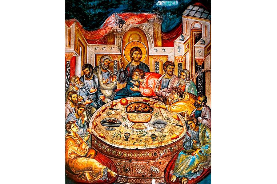 Тайная вечеря. Фреска монастыря Ватопед