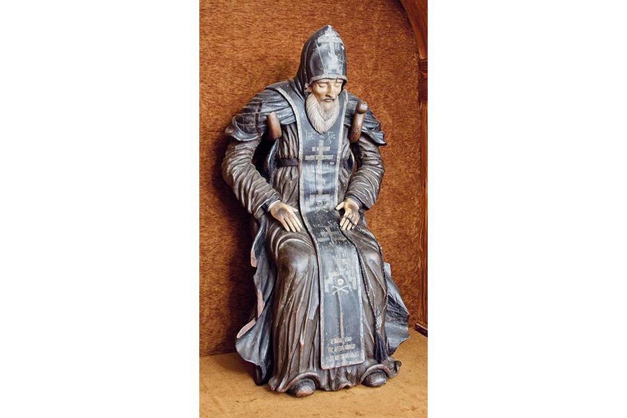 Деревянная  скульптура преподобного Нила Столобенского.  XVIII век.