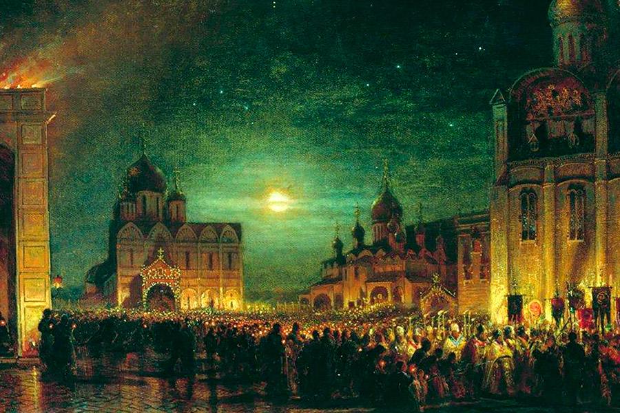 Заутреня в Кремле, 1850 г.
