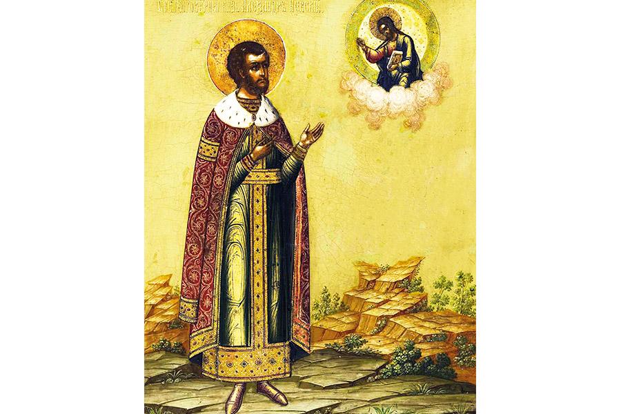 Александр Невский. Икона XIX века, Палех