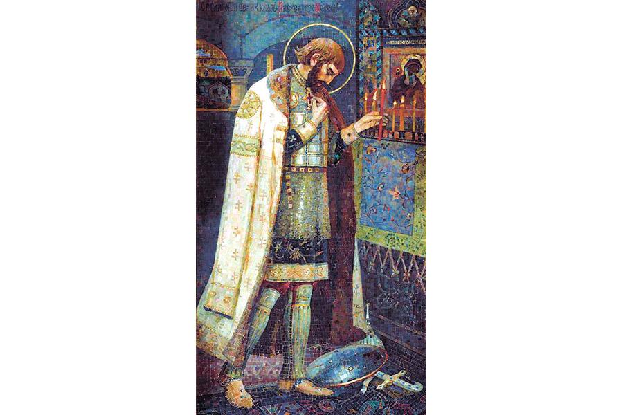 Александр Невский. Мозаичная икона М. Нестерова