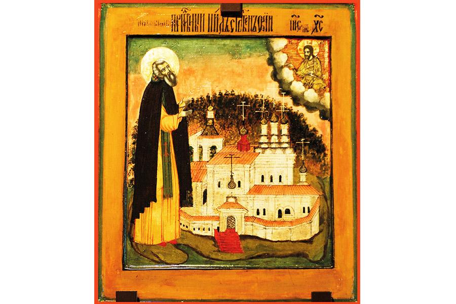 Преподобный Нил Столобенский на фоне монастыря. Икона, XVII век