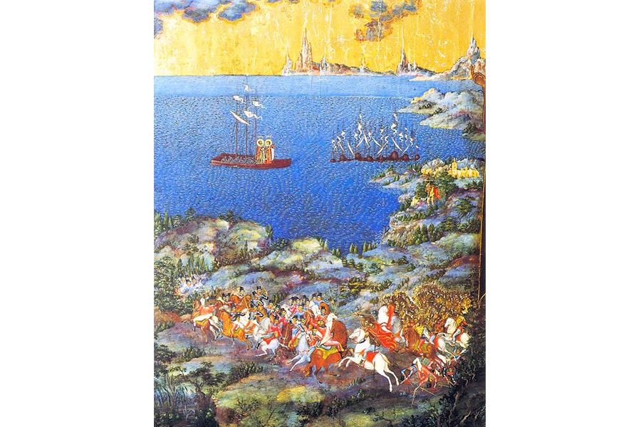 Невская битва (фрагмент иконы «Александр Невский со сценами жития», XIX век