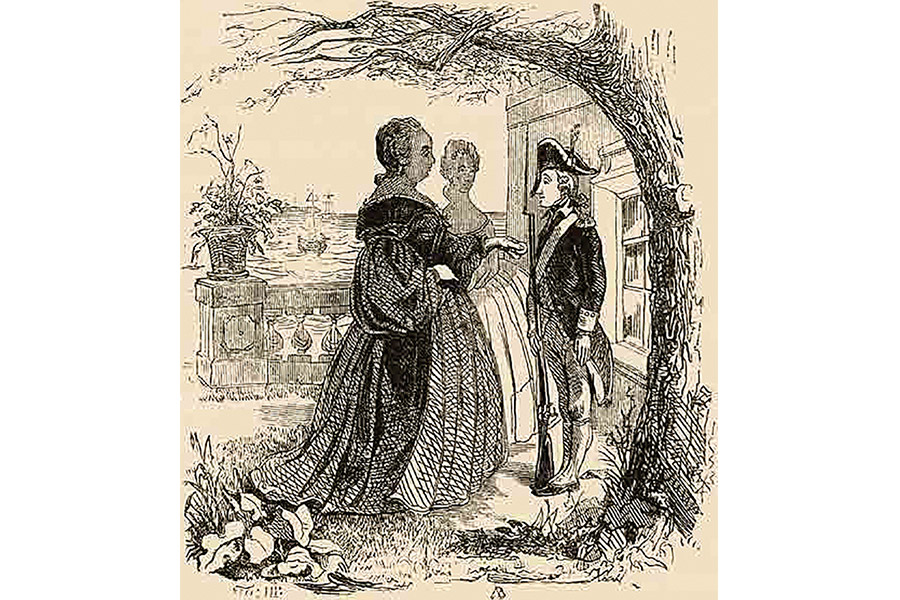 Императрица Елизавета Петровна и Суворов. Гравюра Т.Г. Шевченко, 1850-е гг.