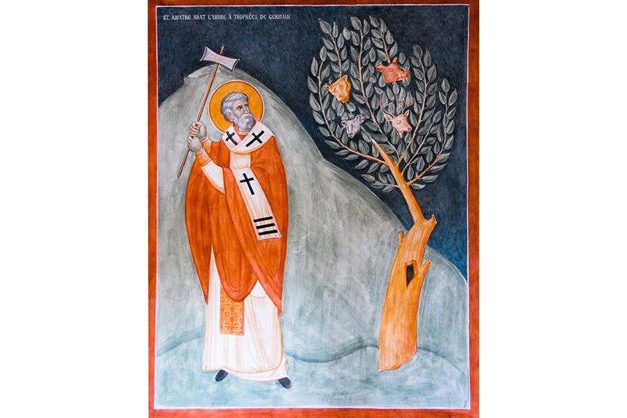 Фреска в одном из храмов на Западе. Дерево приносит не добрые, а дурные плоды. И некий святитель уже занес секиру, чтобы срубить это дерево