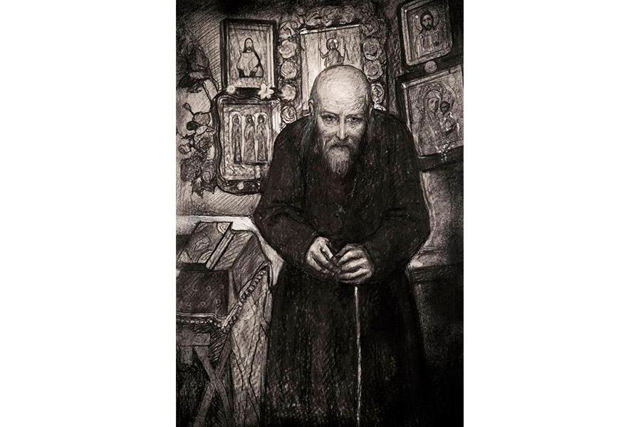 Старец Зосима. Иллюстрация к роману Ильи Глазунова
