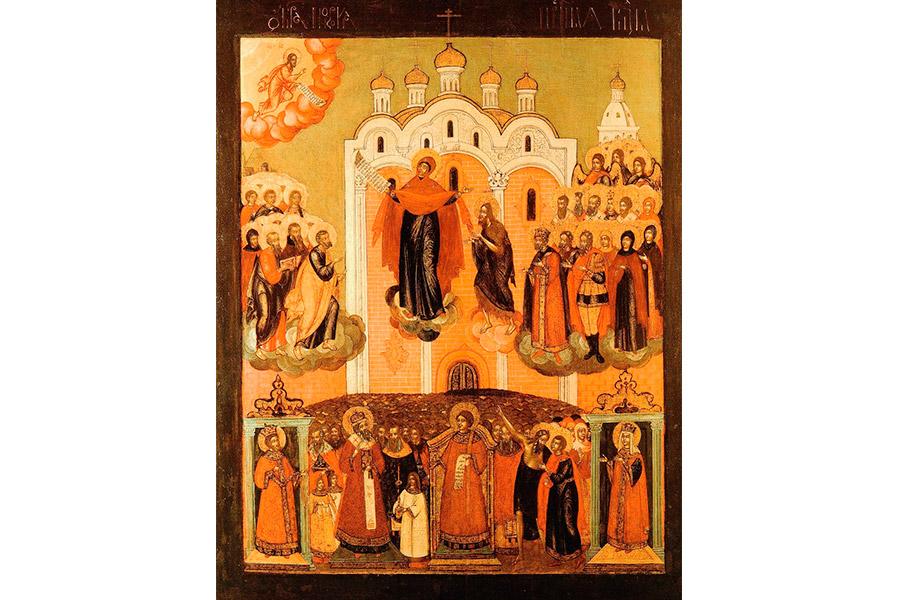 Покров Пресвятой Богородицы. Московская икона 17 века
