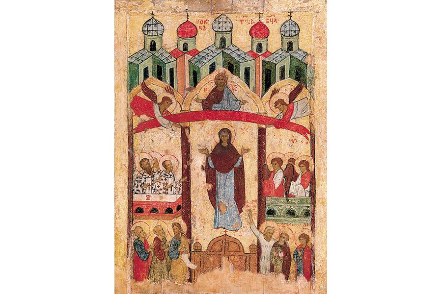 Новгородская икона Покров Пресвятой Богородицы, 16 век